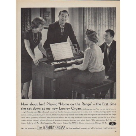 """1961 Lowrey Organ Ad """"How about her!"""""""