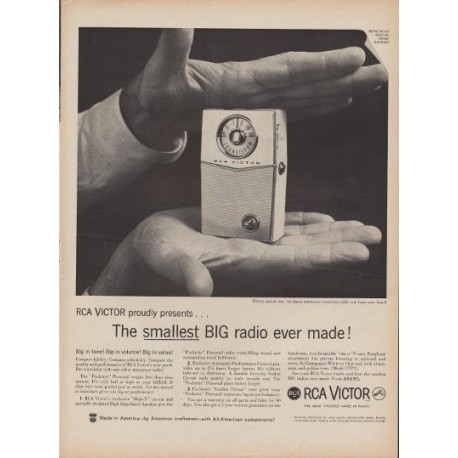 "1960 RCA Victor Ad ""Smallest Big Radio"""