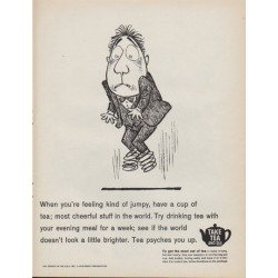 "1961 Tea Council of the U.S.A. Ad ""feeling kind of jumpy"""