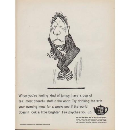 "1961 Tea Council of the U.S.A. Ad ""feeling kind of jumpy"""