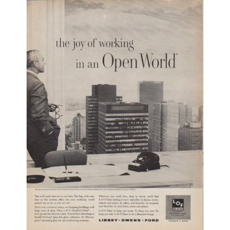 "1961 L*O*F Glass Ad ""Open World"""