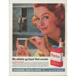 "1961 Winston Cigarettes Ad ""up front"""