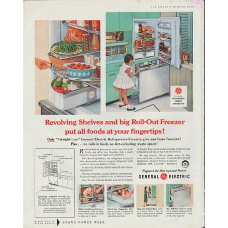 "1958 General Electric Ad ""Revolving Shelves"""