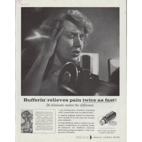 "1958 Bufferin Ad ""twice as fast"""