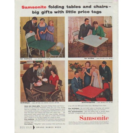 """1958 Samsonite Ad """"folding tables and chairs"""""""