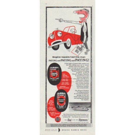 """1958 Wynn's Friction Proofing Ad """"Engine repairs"""""""