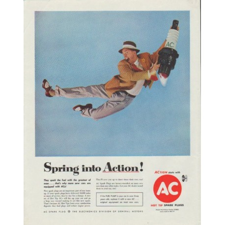"1958 AC Spark Plugs Ad ""Spring into Action"""