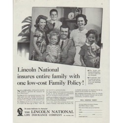 "1958 Lincoln National Life Insurance Ad ""Family Policy"""