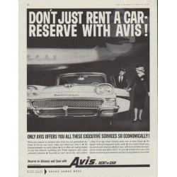 "1958 Avis Rent-a-Car Ad ""Don't just rent a car"""