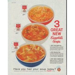"1958 Campbell's Soup Ad ""3 Great New"""