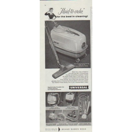 "1958 Universal Cleaning Equipment Ad ""Maid-to-order"""