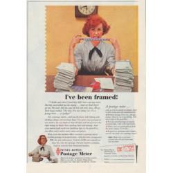 """1958 Pitney-Bowes Ad """"I've been framed"""""""