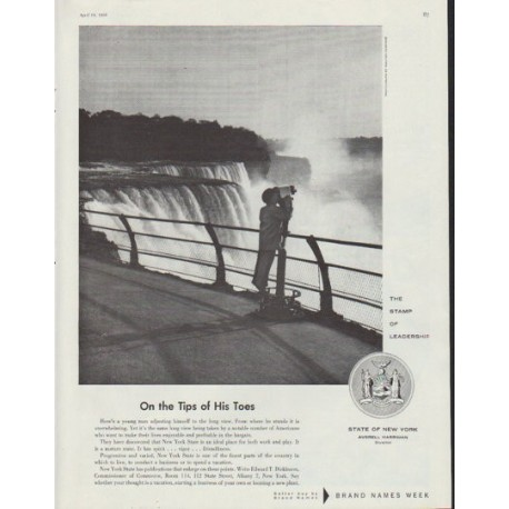 """1958 New York State Ad """"Tips of His Toes"""""""