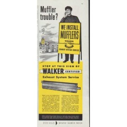 "1958 Walker Mufflers Ad ""Muffler trouble?"""