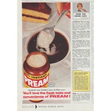 "1958 Pream Ad ""However you ""cream"" your coffee"""