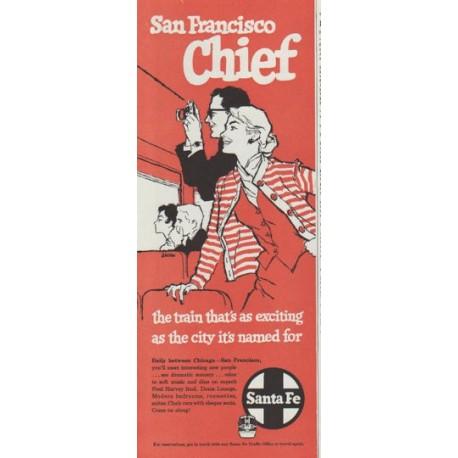 "1958 Santa Fe Railroad Ad ""San Francisco Chief"""