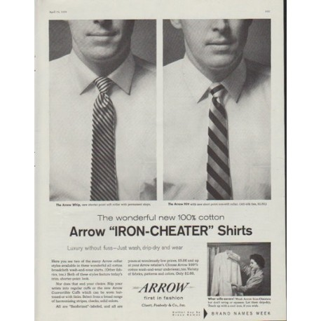 "1958 Arrow Shirt Ad ""Iron-Cheater"""