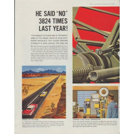 "1958 Atlas Tires and Batteries Ad ""He said ""no"""""