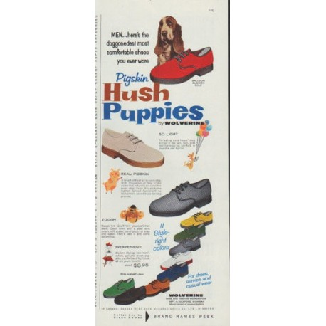 "1958 Hush Puppies Ad ""most comfortable shoes"""