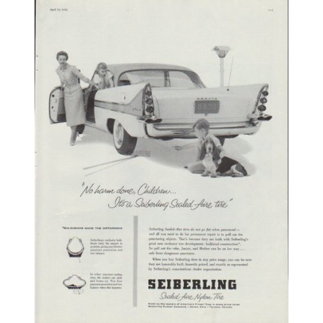 """1958 Seiberling Tires Ad """"No harm done"""""""