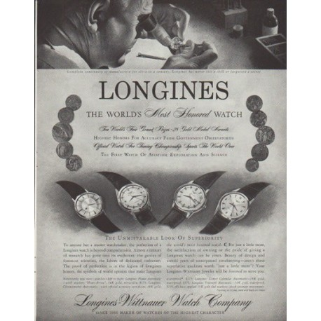 """1958 Longines-Wittnauer Watch Ad """"Most Honored"""""""