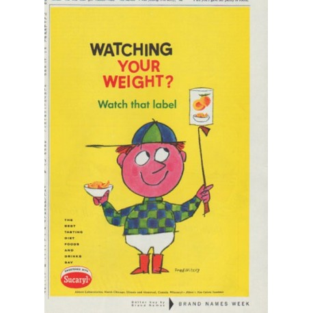 """1958 Sucaryl Ad """"Watching Your Weight?"""""""
