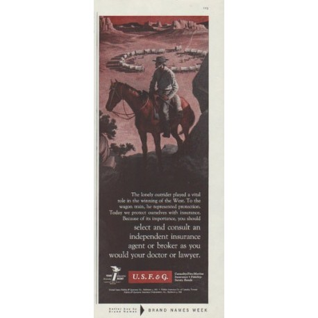 "1958 United States Fidelity & Guaranty Co. Ad ""The lonely outrider"""