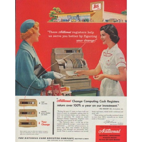 "1958 National Cash Register Ad ""figuring your change"""
