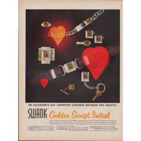 "1960 Swank Jewelry Ad ""Golden Script Initial"""