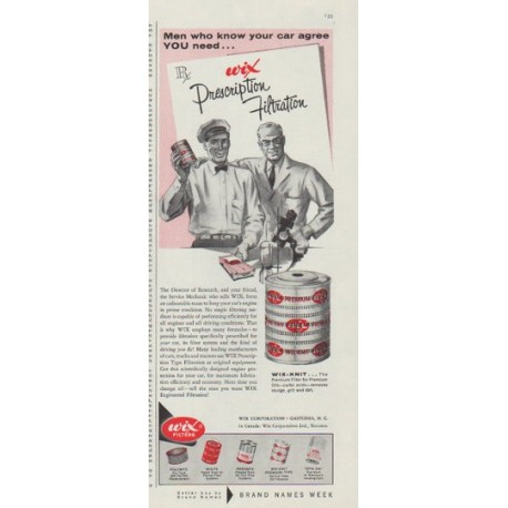 """1958 Wix Filters Ad """"Men who know"""""""