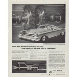 "1958 Inco Nickel Ad ""gas turbine car of tomorrow"""