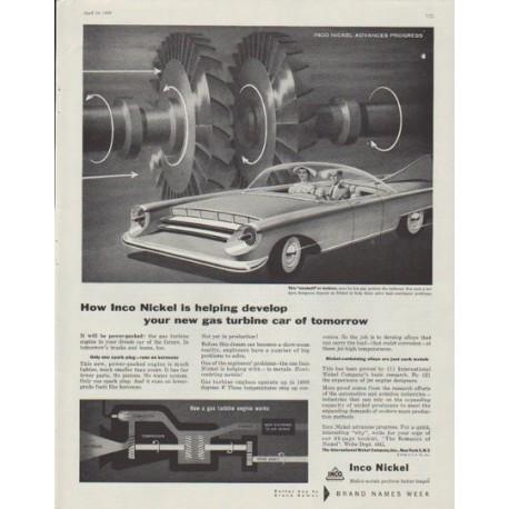 "1958 Inco Nickel Ad ""gas turbine car of tomorrow"""