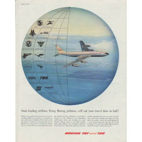 """1958 Boeing Ad """"cut your travel time in half"""""""