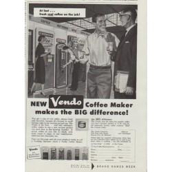 """1958 Vendo Coffee Maker Ad """"At last"""""""