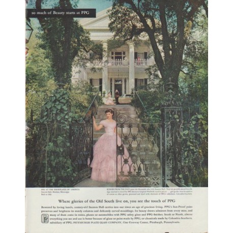 """1958 Pittsburgh Plate Glass Ad """"Old South"""""""