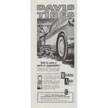 "1958 Davis Tires Ad ""a world of responsibility"""