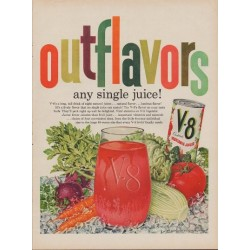 "1960 V-8 Vegetable Juice Ad ""Outflavors"""