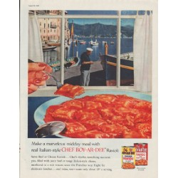 "1958 Chef Boy-Ar-Dee Ad ""marvelous midday meal"""