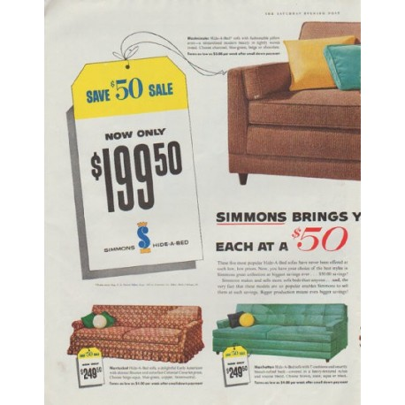 "1958 Simmons Hide-A-Bed Ad ""Save $50 Sale"""