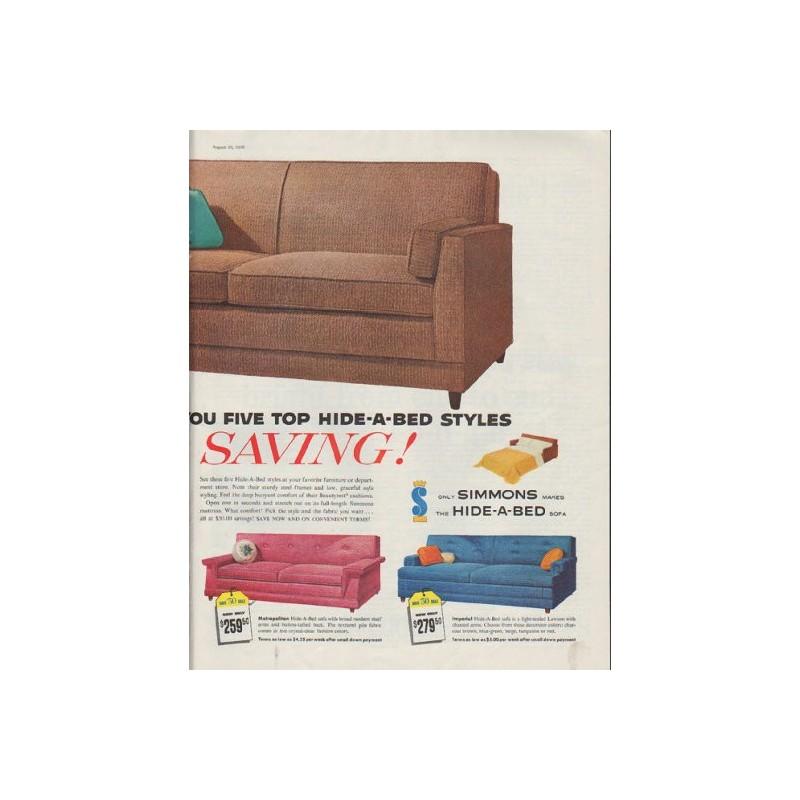 1958 simmons hide a bed vintage ad save 50 sale. Black Bedroom Furniture Sets. Home Design Ideas