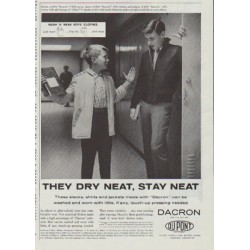 "1958 Du Pont Dacron Vintage Ad ""They Dry Neat, Stay Neat"""
