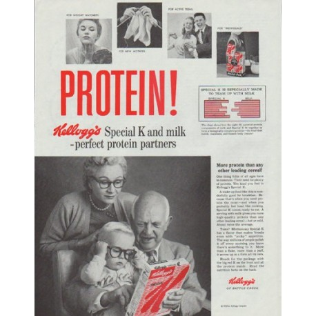 """1958 Kellogg's Special K Ad """"Protein"""""""