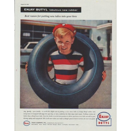 "1958 Enjay Butyl Ad ""fabulous new rubber"""