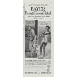 "1958 Bayer Aspirin Ad ""Brings Fastest Relief"""