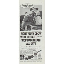 "1958 Colgate Dental Cream Ad ""One Colgate Brushing"""