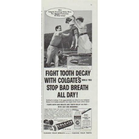 "1958 Colgate Dental Cream Ad ""One Colgate Brushing"""