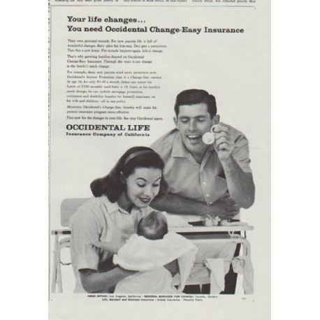 "1958 Occidental Life Ad ""Your life changes"""