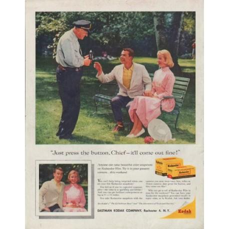 "1958 Kodak Ad ""Just press the button"""