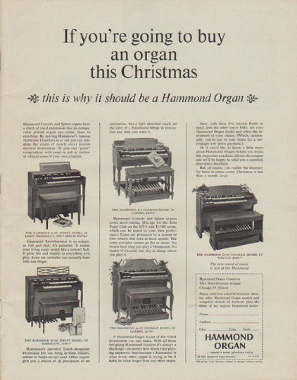 Hammond Organ Advertisement 1960s Vintage