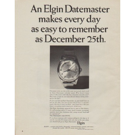 """1963 Elgin Watch Ad """"easy to remember"""""""